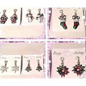 Winter Earrings Santa Snowman Stocking Snowflake
